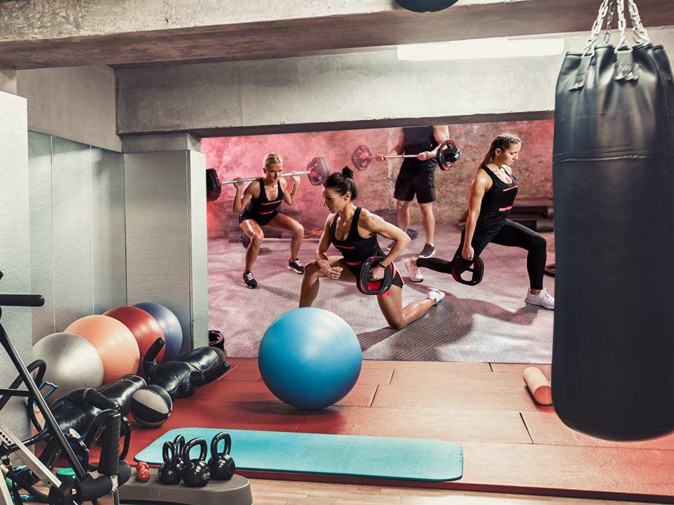 Fotomural Gimnasio Clase Body Pump Pesas | Carteles XXL - Impresión carteleria publicitaria