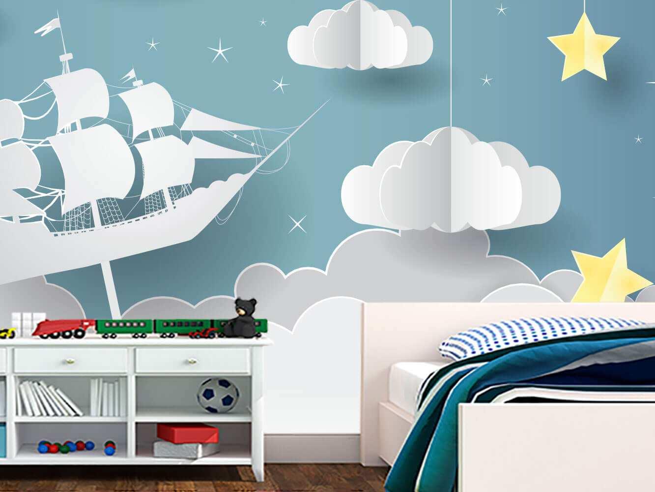 Fotomural Vinilo Infantil 3D Barco Nubes | Carteles XXL - Impresión carteleria publicitaria