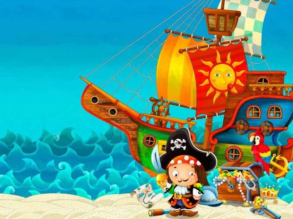 Fotomural Papel Pintado Barco Pirata Tesoro | Carteles XXL - Impresión carteleria publicitaria