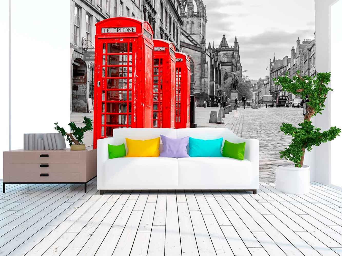 Fotomural Papel Pintado Cabinas Telefónicas Londres | Carteles XXL - Impresión carteleria publicitaria