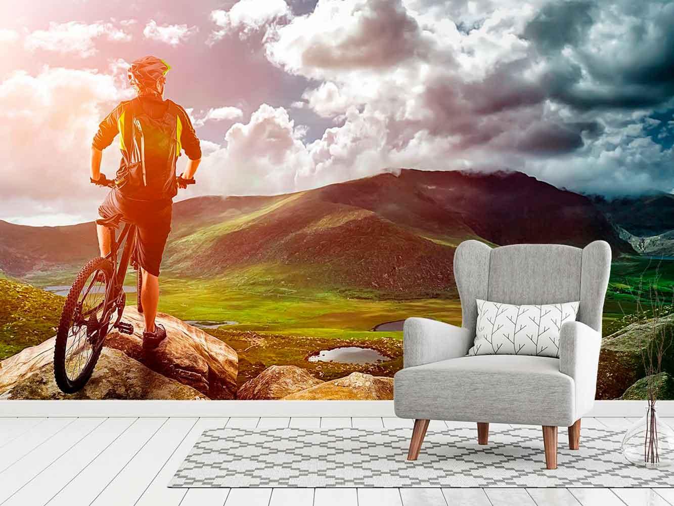 Fotomural Papel Pintado Ciclista Montaña | Carteles XXL - Impresión carteleria publicitaria
