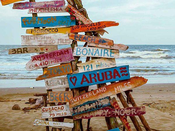 Fotomural Papel Pintado Indicaciones Madera Playa | Carteles XXL - Impresión carteleria publicitaria