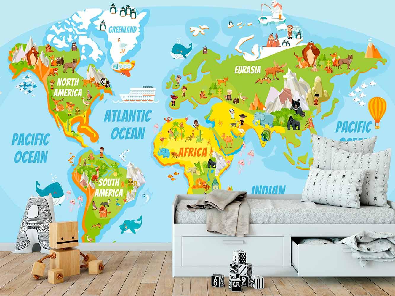 Fotomural Papel Pintado Mapamundi Educativo | Carteles XXL - Impresión carteleria publicitaria