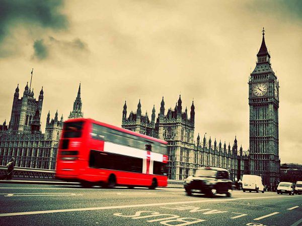 Fotomural Papel Pintado Autobuses y Big Ben Londres | Carteles XXL - Impresión carteleria publicitaria