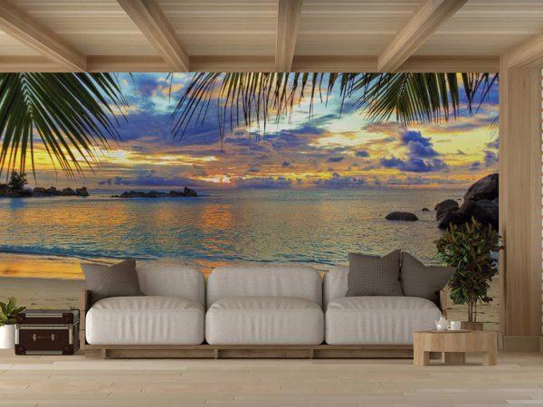 Fotomural Vinilo Amanecer Playa Tropical | Carteles XXL - Impresión carteleria publicitaria