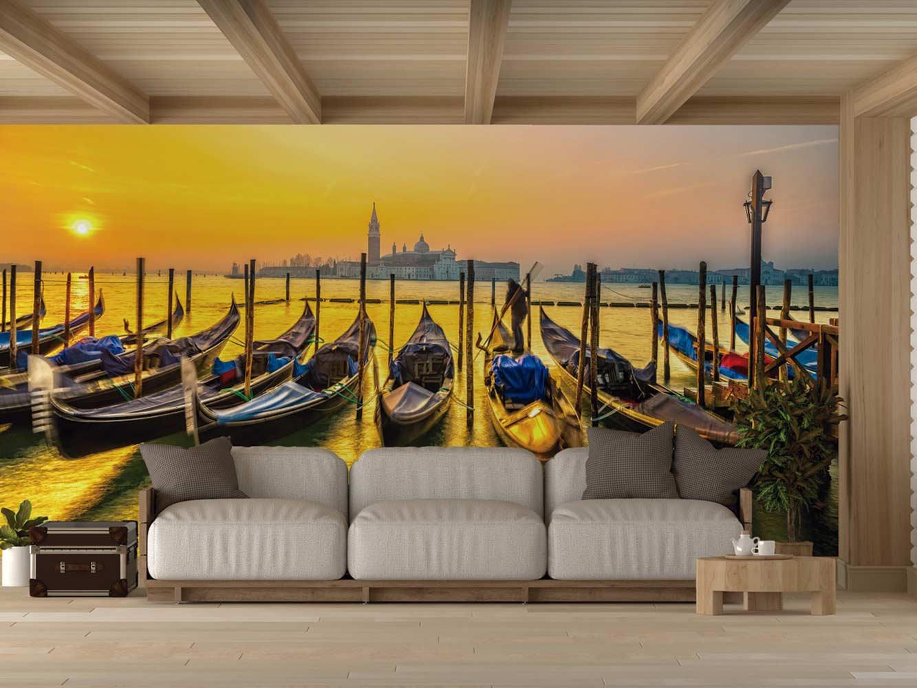 Fotomural Vinilo Atardecer Góndolas en Venecia | Carteles XXL - Impresión carteleria publicitaria