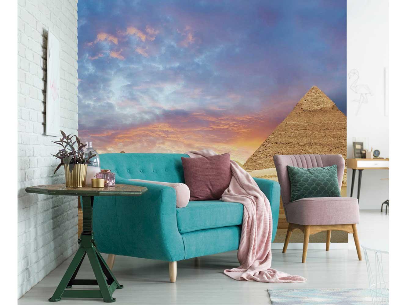 Fotomural Vinilo Atardecer Pirámides Egipto | Carteles XXL - Impresión carteleria publicitaria