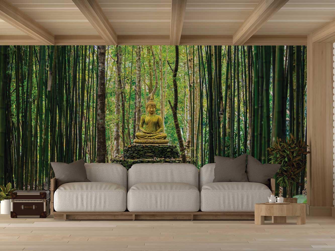Fotomural Vinilo Buda en Bosque Bambú | Carteles XXL - Impresión carteleria publicitaria