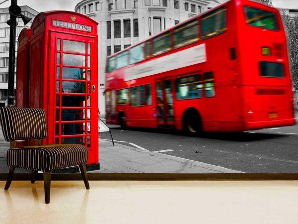 Fotomural Vinilo Cabinas y Autobuses Londres   Carteles XXL - Impresión carteleria publicitaria