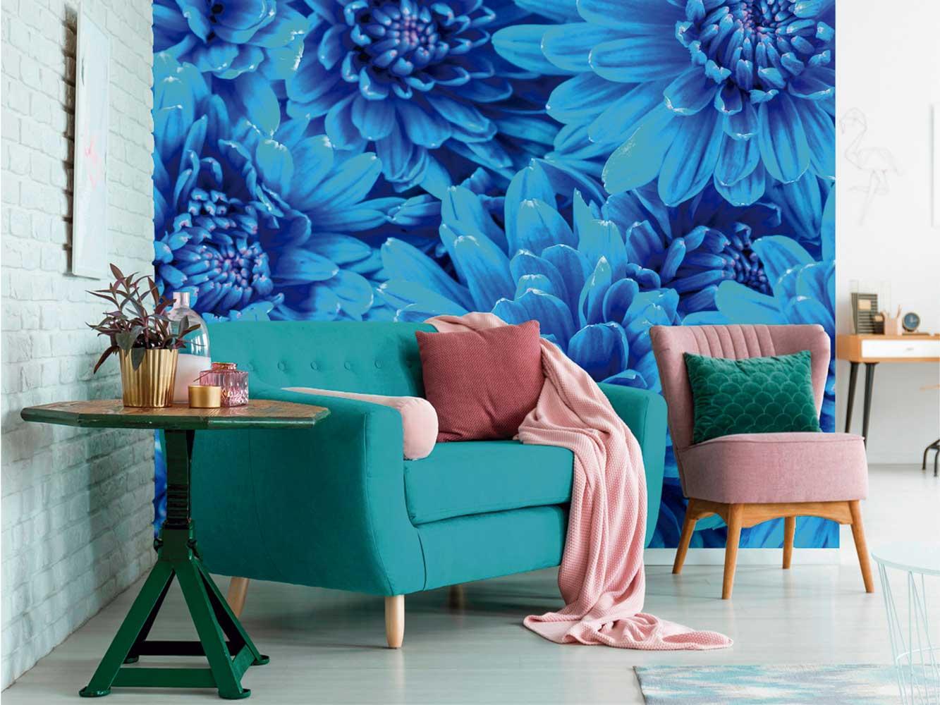 Fotomural Vinilo Crisantemo Azul   Carteles XXL - Impresión carteleria publicitaria