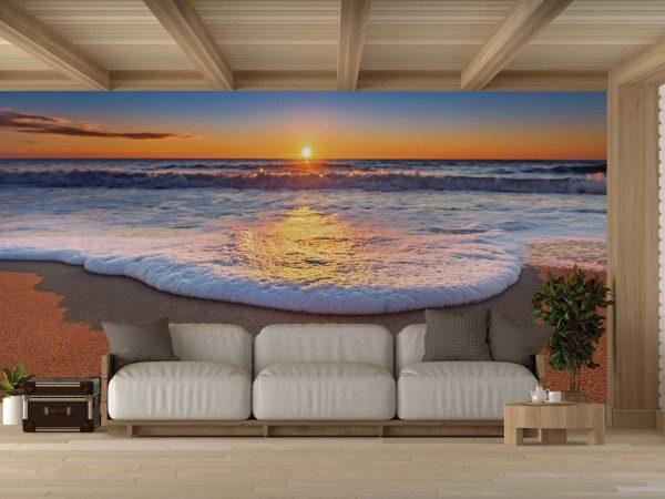 Fotomural Vinilo Espuma de Mar al Atardecer | Carteles XXL - Impresión carteleria publicitaria