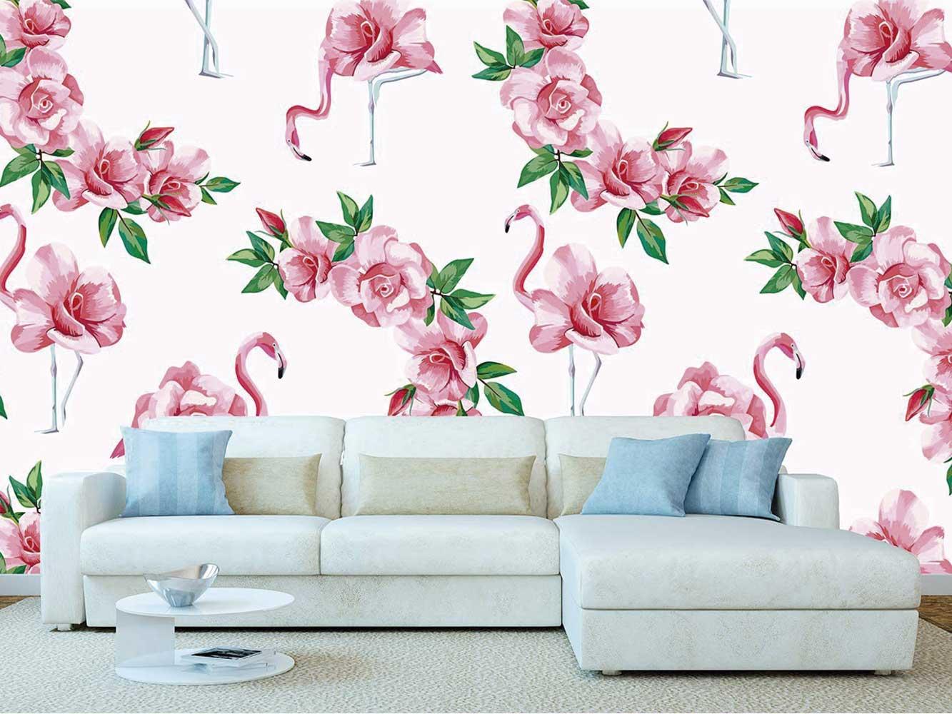 Fotomural Vinilo Flamencos Florales Rosas | Carteles XXL - Impresión carteleria publicitaria
