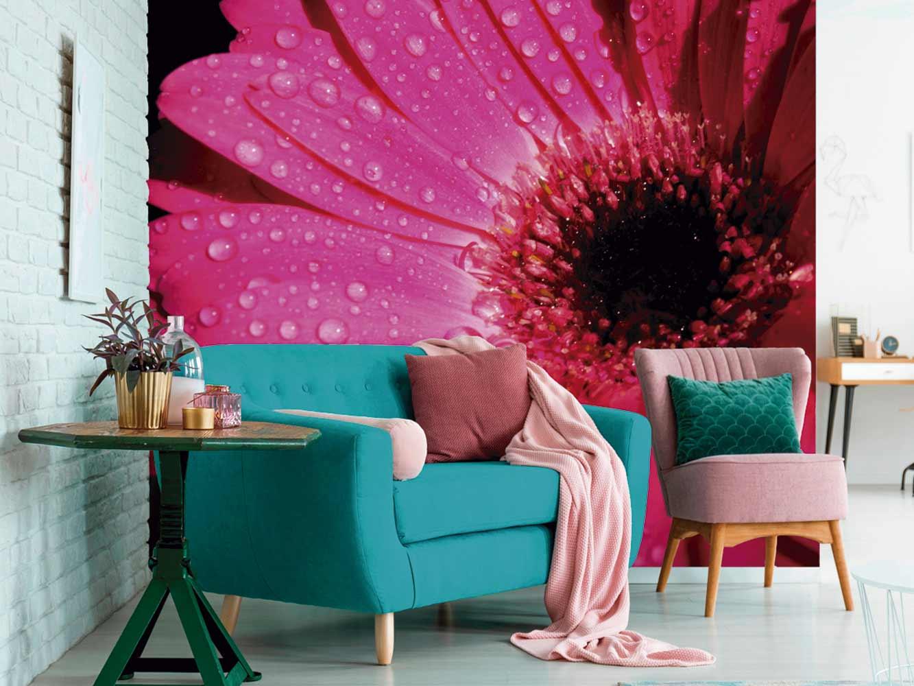 Fotomural Vinilo Floral Frescor Rosa | Carteles XXL - Impresión carteleria publicitaria
