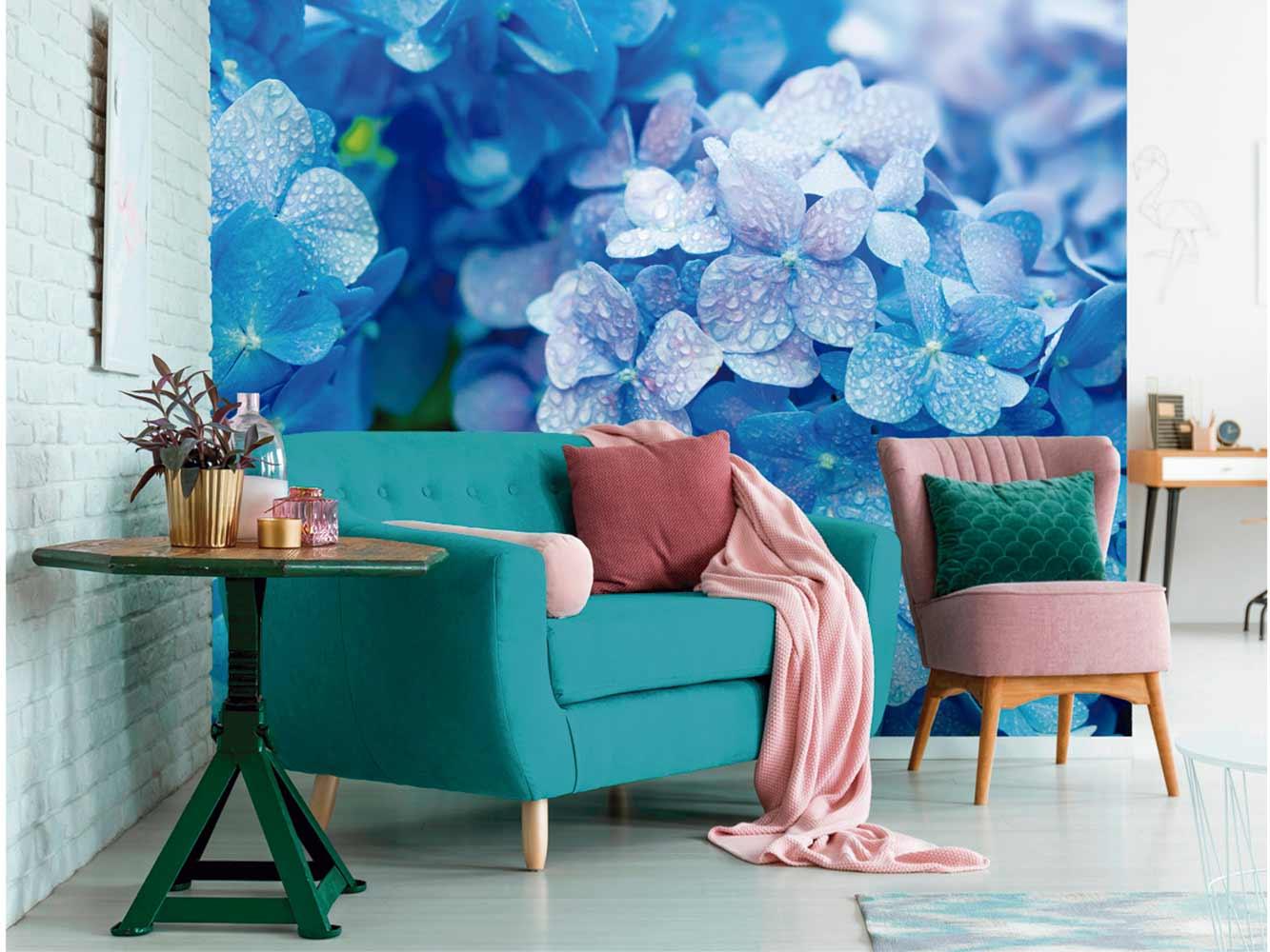 Fotomural Vinilo Hortensias Azules | Carteles XXL - Impresión carteleria publicitaria