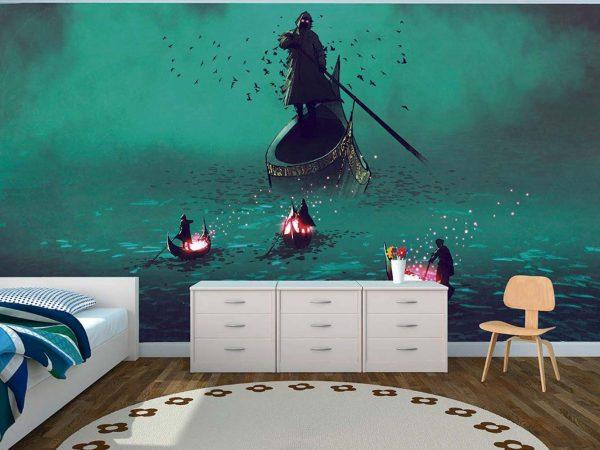 Fotomural Vinilo Infantil Barcas Cómic | Carteles XXL - Impresión carteleria publicitaria