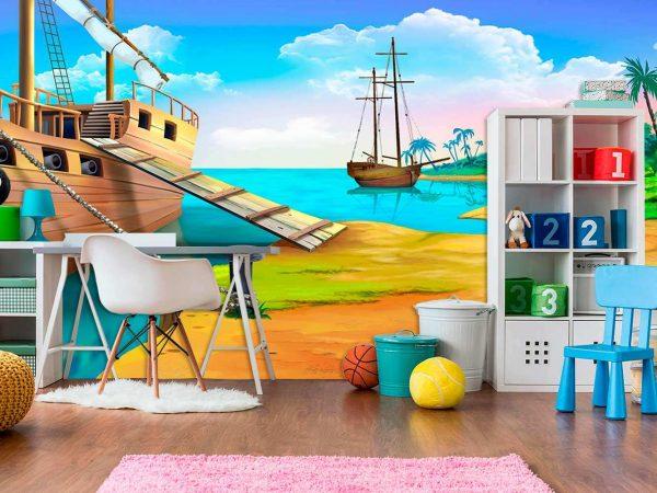 Fotomural Vinilo Infantil Barco Pirata Isla | Carteles XXL - Impresión carteleria publicitaria