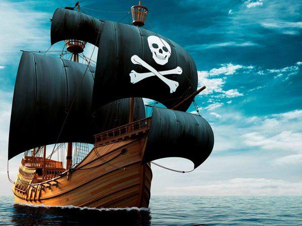 Fotomural Vinilo Infantil Barco Pirata Realista | Carteles XXL - Impresión carteleria publicitaria