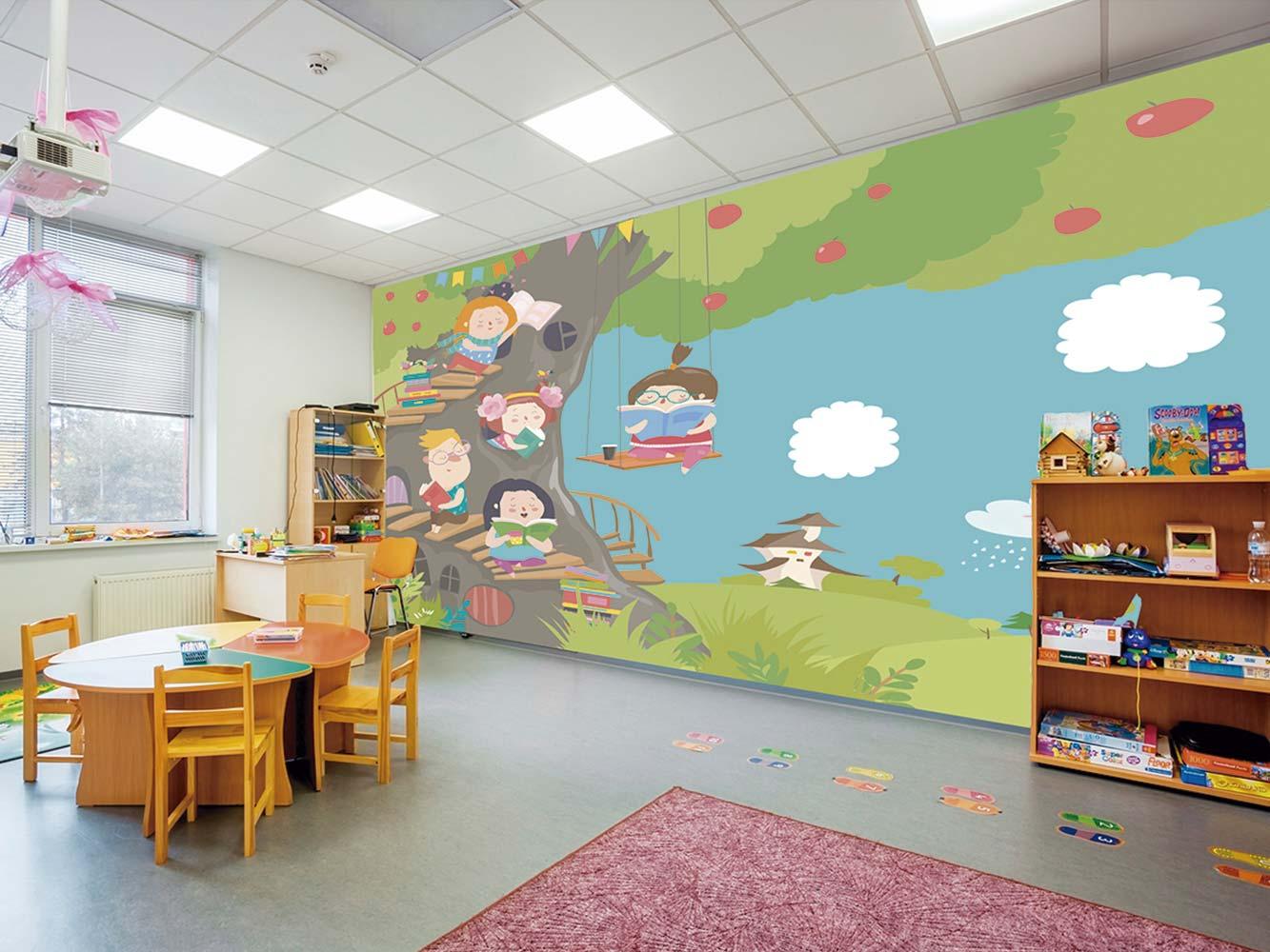 Fotomural Vinilo Infantil Bosque de la Lectura | Carteles XXL - Impresión carteleria publicitaria