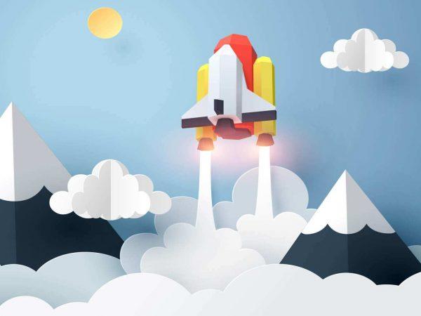 Fotomural Vinilo Infantil 3D Cohete Espacial | Carteles XXL - Impresión carteleria publicitaria