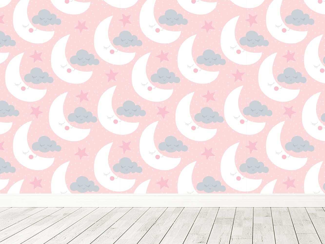 Fotomural Vinilo Infantil Lunas Nubes Durmiendo | Carteles XXL - Impresión carteleria publicitaria