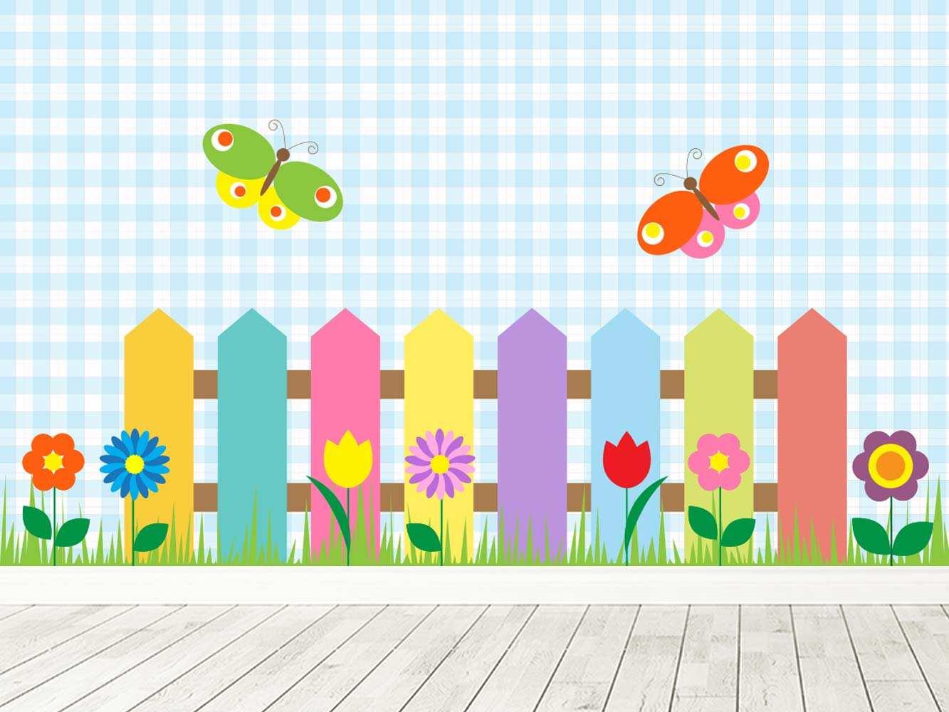 Fotomural Vinilo Infantil Valla Madera Multicolor   Carteles XXL - Impresión carteleria publicitaria