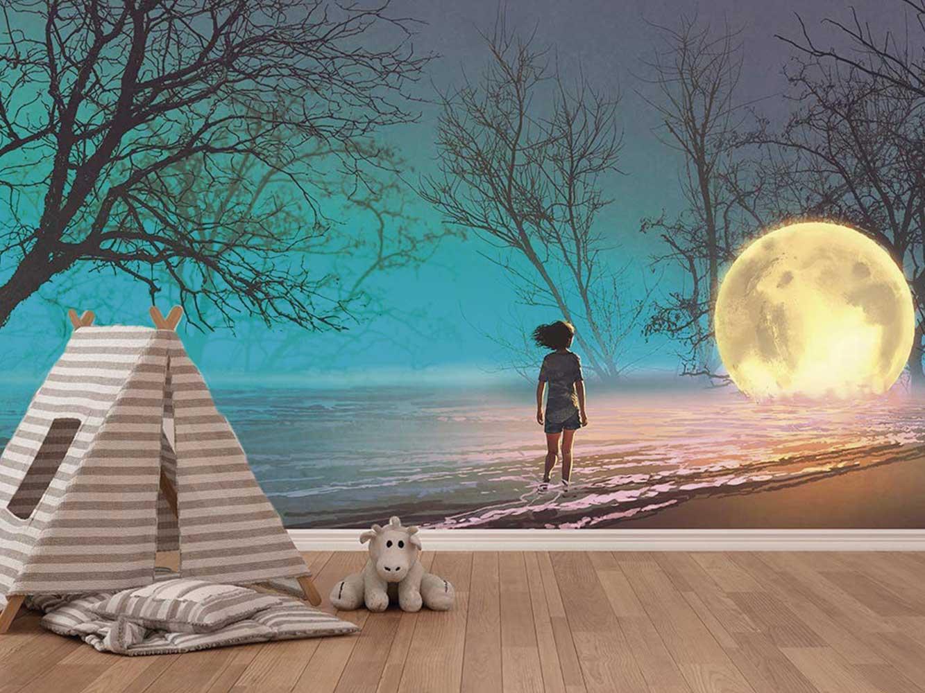 Fotomural Vinilo Paseo Por la Playa Luna   Carteles XXL - Impresión carteleria publicitaria