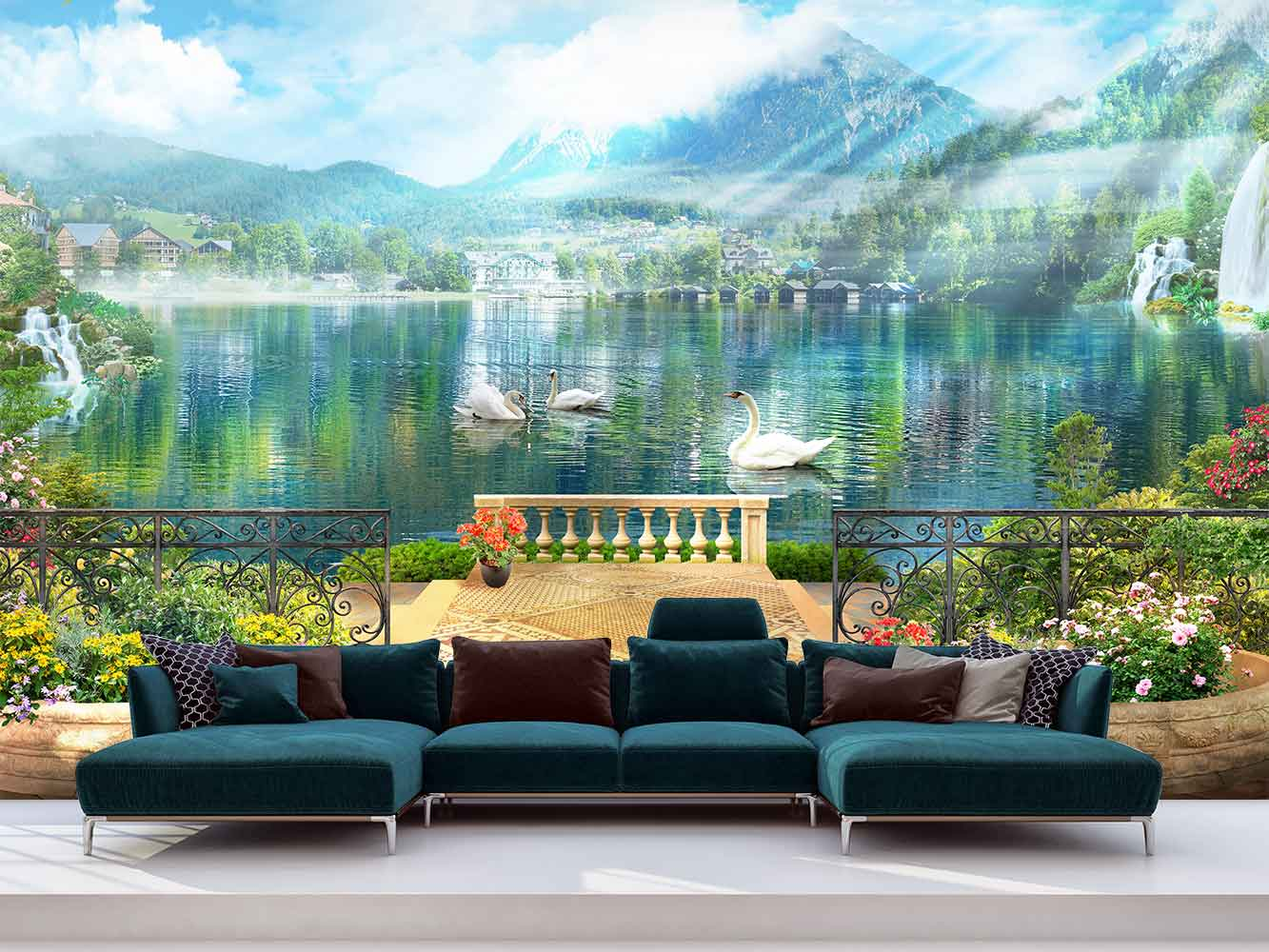 Fotomural Vinilo Lago Cisnes | Carteles XXL - Impresión carteleria publicitaria