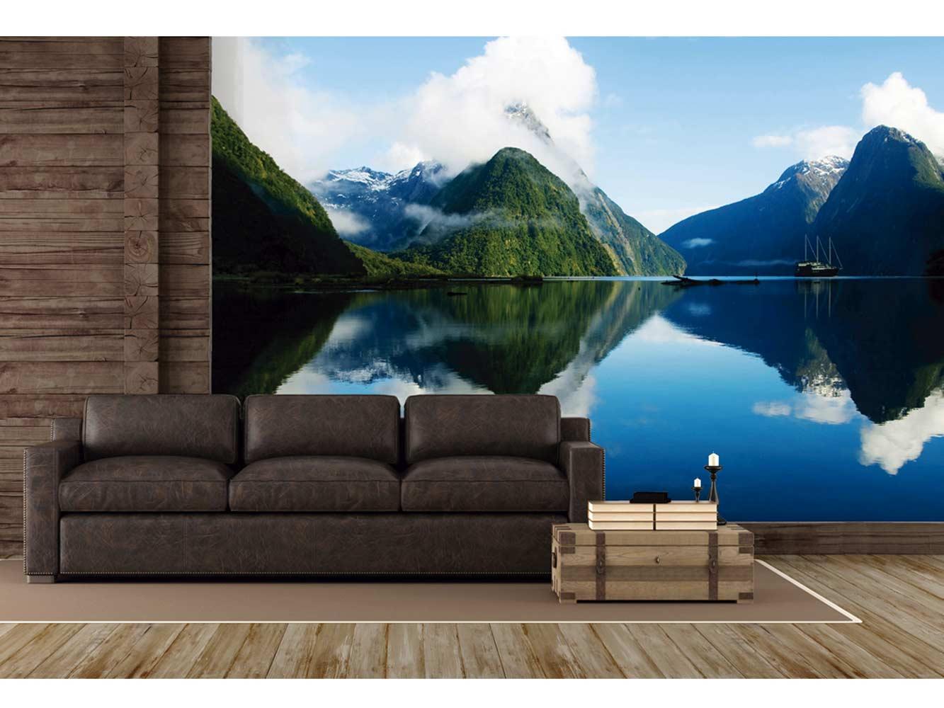Fotomural Vinilo Lago entre Montañas | Carteles XXL - Impresión carteleria publicitaria