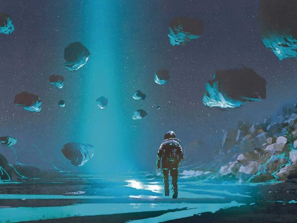 Fotomural Vinilo Infantil Planeta Desconocido Astronauta   Carteles XXL - Impresión carteleria publicitaria