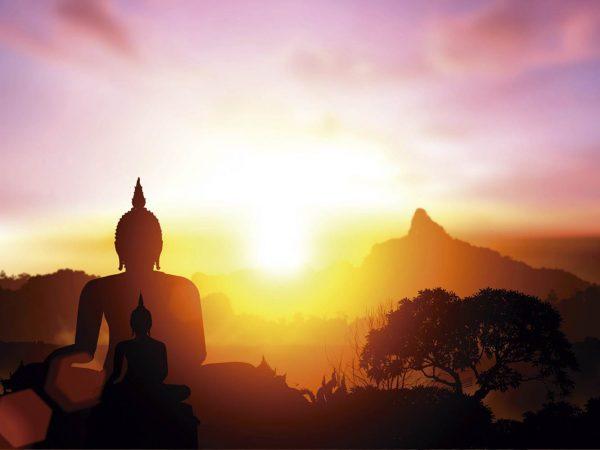 Vinilo Frigorífico Silueta Buda al Atardecer 2 | Carteles XXL - Impresión carteleria publicitaria
