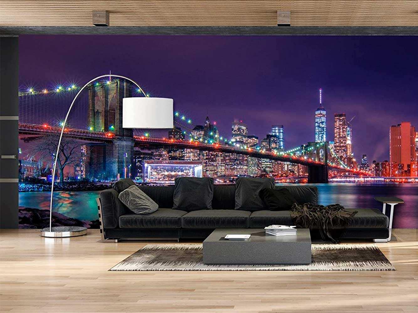 Fotomural Vinilo Vista Nocturna Nueva York | Carteles XXL - Impresión carteleria publicitaria