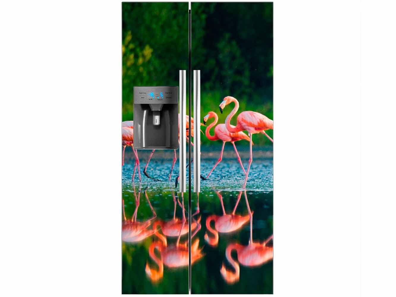 Vinilo Frigorífico Lago Flamencos | Carteles XXL - Impresión carteleria publicitaria