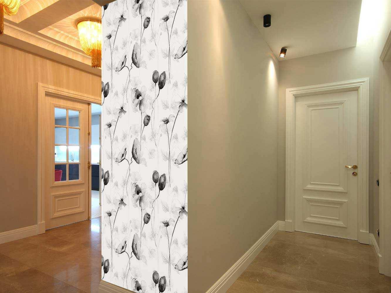 Cenefa Vertical Lirios en Blanco y Negro   Carteles XXL - Impresión carteleria publicitaria