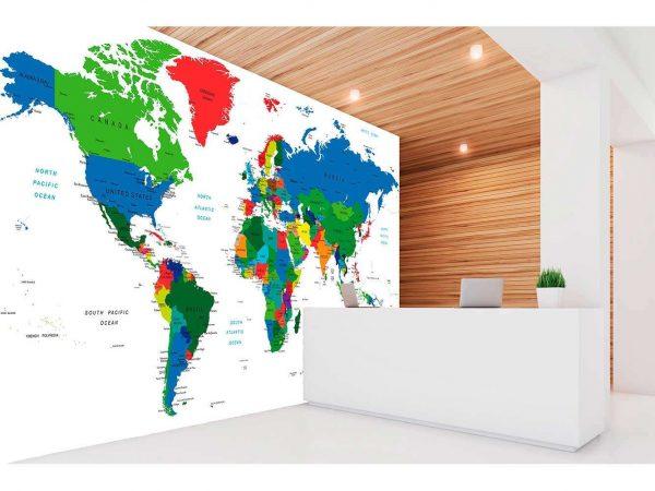 Fotomural Vinilo Mapamundi Colores   Carteles XXL - Impresión carteleria publicitaria