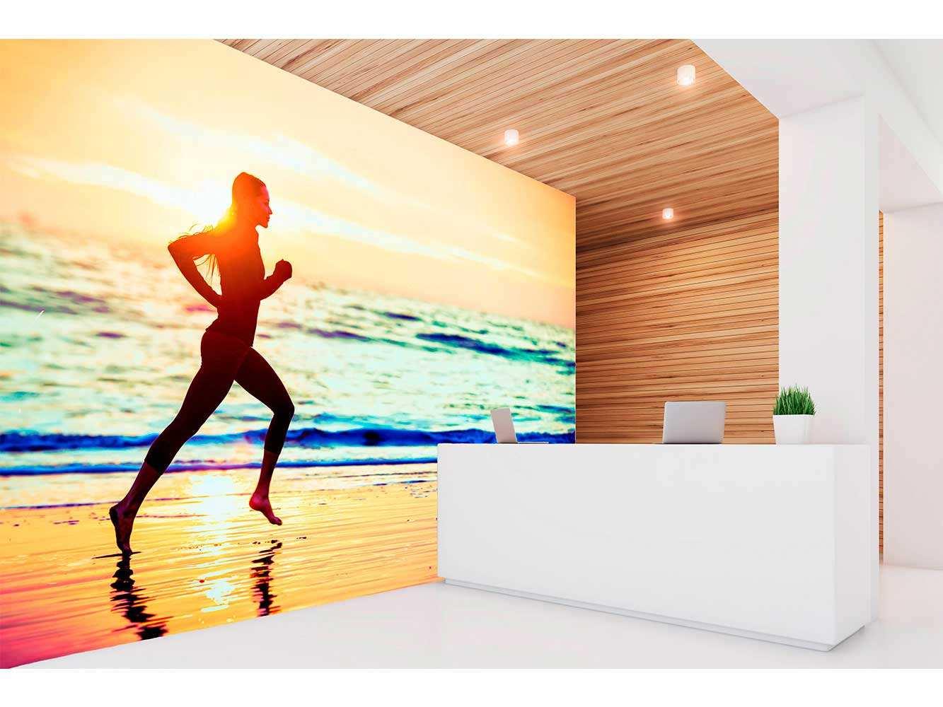Fotomural Vinilo Running Orilla del Mar   Carteles XXL - Impresión carteleria publicitaria