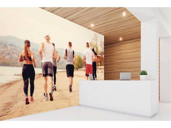 Fotomural Vinilo Running Grupo en la Playa | Carteles XXL - Impresión carteleria publicitaria