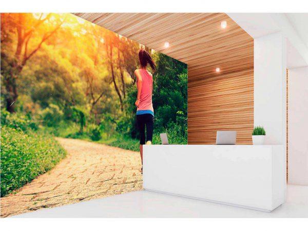 Fotomural Vinilo Running Bosque Frondoso | Carteles XXL - Impresión carteleria publicitaria