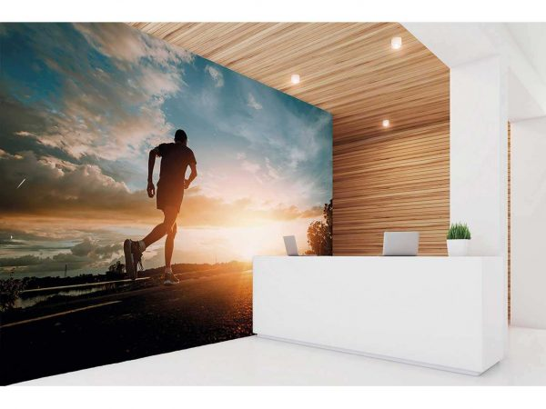 Fotomural Vinilo Running Carretera Atardecer | Carteles XXL - Impresión carteleria publicitaria