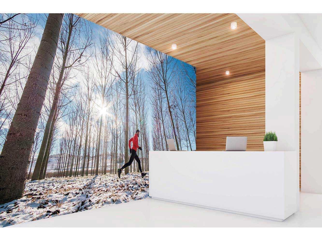 Fotomural Vinilo Running Campo Nevado   Carteles XXL - Impresión carteleria publicitaria