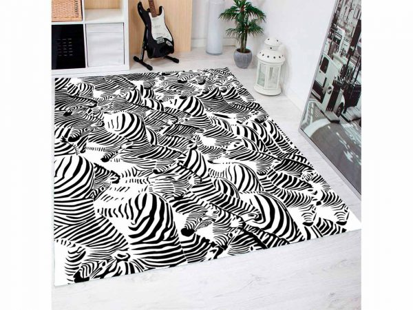 Alfombra PVC Estampado Cebra Blanco Negro | Carteles XXL - Impresión carteleria publicitaria