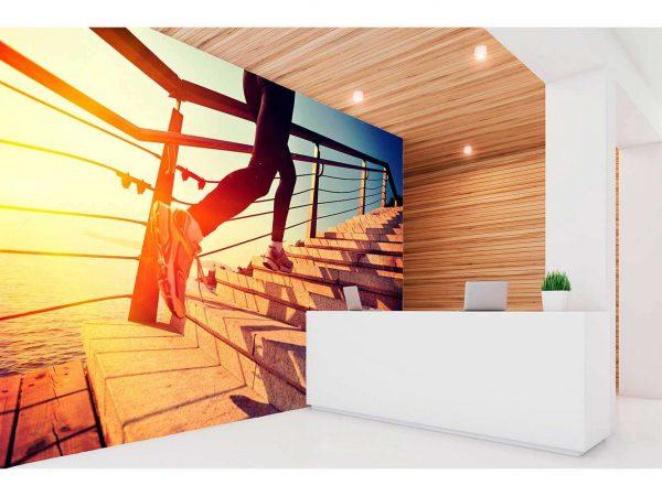 Fotomural Vinilo Running Escaleras al Mar | Carteles XXL - Impresión carteleria publicitaria