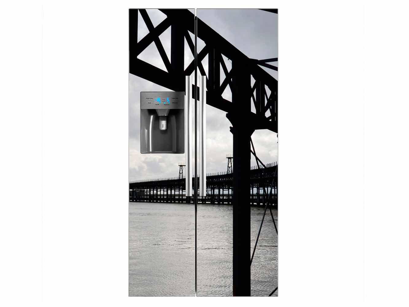 Vinilo Frigorífico Americano Muelle Oscuro | Carteles XXL - Impresión carteleria publicitaria