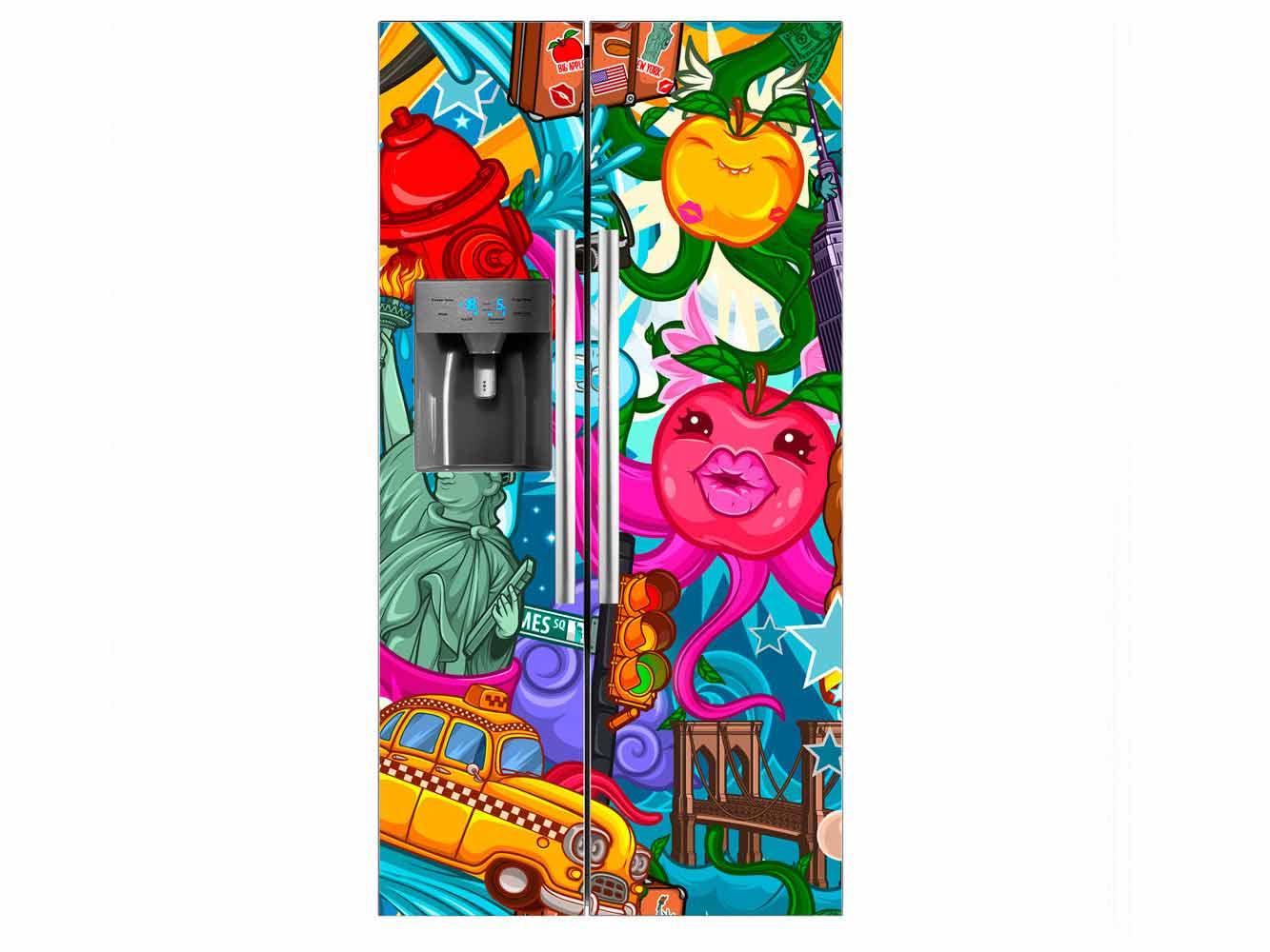 Vinilo Frigorífico Americano New York Animado | Carteles XXL - Impresión carteleria publicitaria