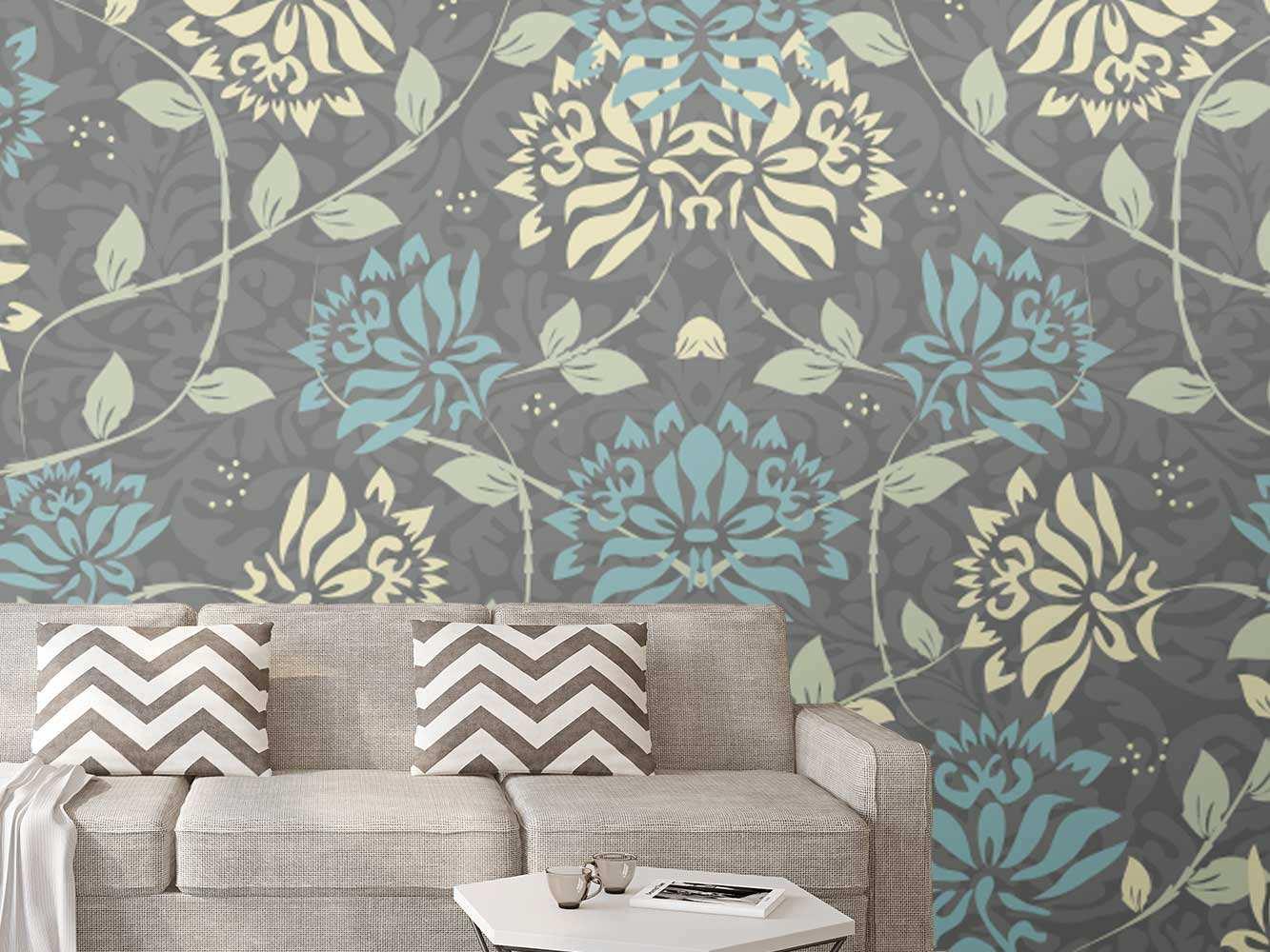 Fotomural Papel Pintado Arte Floral Azul Amarillo | Carteles XXL - Impresión carteleria publicitaria
