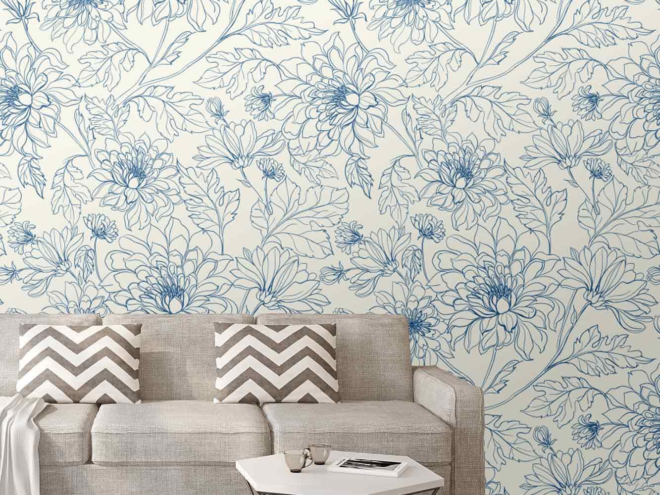 Fotomural Papel Pintado Arte Floral Azul | Carteles XXL - Impresión carteleria publicitaria