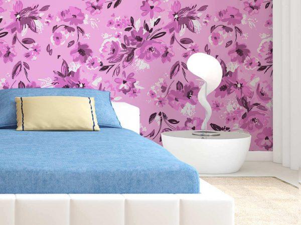 Fotomural Papel Pintado Arte Floral Rosa   Carteles XXL - Impresión carteleria publicitaria