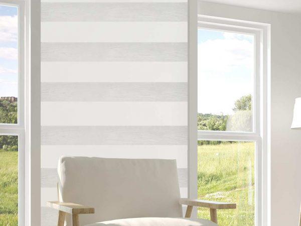 Cenefa Vertical Papel Pintado Franjas Horizontales Blanco Gris | Carteles XXL - Impresión carteleria publicitaria