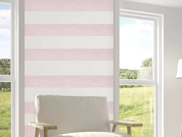 Cenefas Verticales Papel Pintado Franjas Horizontales Blanco Rosa | Carteles XXL - Impresión carteleria publicitaria