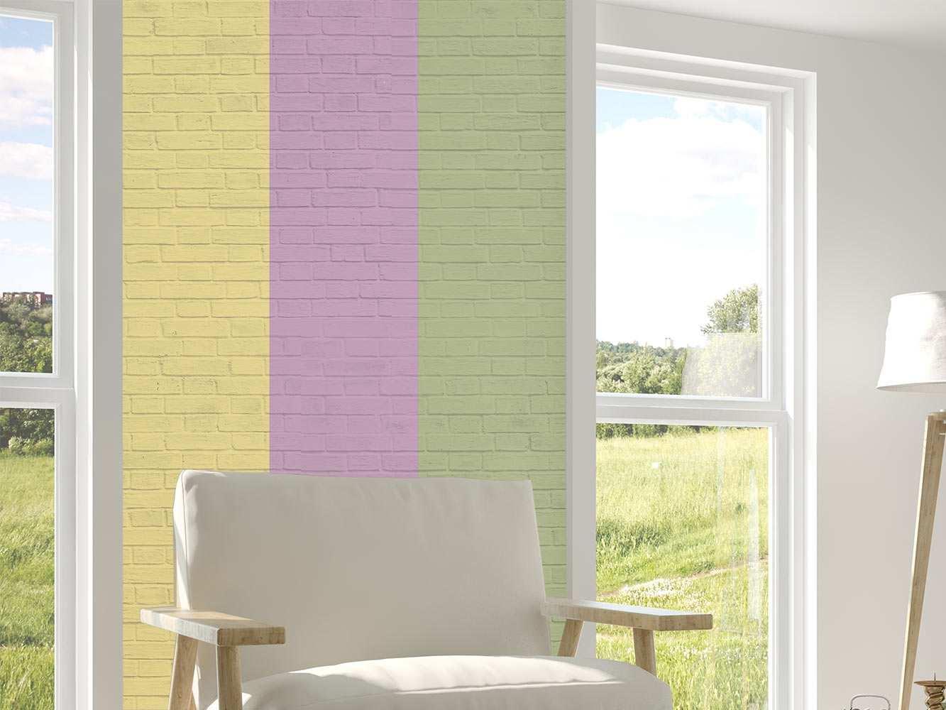 Cenefa Vertical Papel Pintado Ladrillos Multicolor | Carteles XXL - Impresión carteleria publicitaria