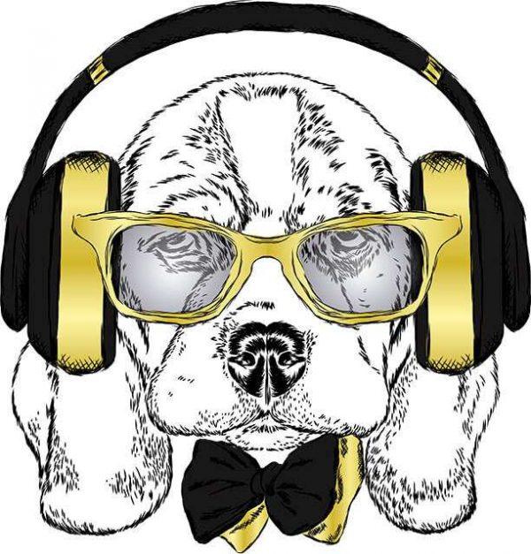 Vinilo Decorativo Perro Escuchando Música | Carteles XXL - Impresión carteleria publicitaria